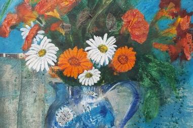 "Flowers in Blue Jug  (18"" x 25"")"