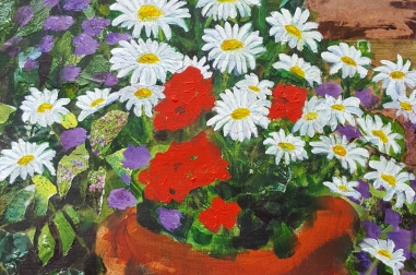 "Flowers in my garden (16"" x 20"")"
