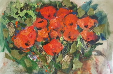 """Poppies in Mixed Media (25"""" x 18"""")"""