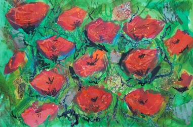 """Poppies with Glitter (16"""" x 12"""")"""