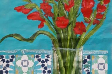 """Red Gladioli (16"""" x 22"""")"""