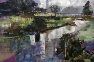 "Lakeside Trees (20"" x 16"")"