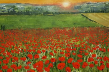"Tuscan Sunset with Poppies (24"" x 18"")"