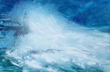 "Porthleven Storm (18""x 14"")"