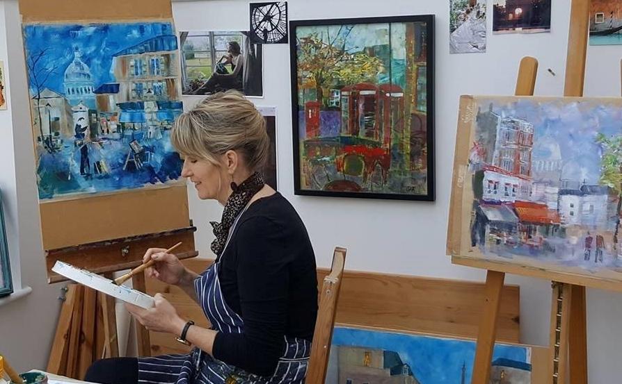 Celia at work in her Cheltenham studio